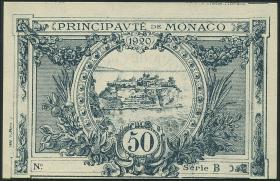 Monaco P.03b 50 Centimes 1920 (1/1-) ohne Seriennummer