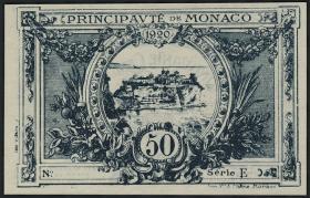 Monaco P.03b 50 Centimes 1920 (1) ohne Seriennummer