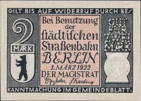 Notgeld Berliner Straßenbahn 10 x 2 RM 1922