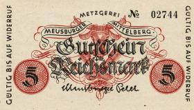 Notgeld Mittelberg ( Klein-Walsertal ) 2 + 5 Reichsmark (1945) (1)