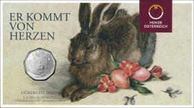 Österreich 5 Euro 2016 Dürer Feldhase im Folder