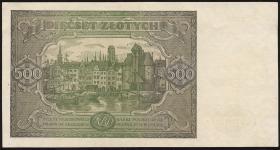 Polen / Poland P.132 500 Zlotych 1947 (2+)