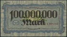 R-WTB 20: 100 Mio. Mark 1923 (1-)