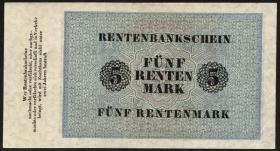 R.156b 5 Rentenmark 1923 7-stellig (1/1-)