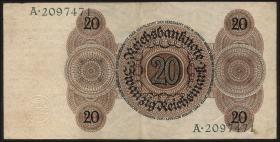 R.169: 20 Reichsmark 1924  Q/K (2+)