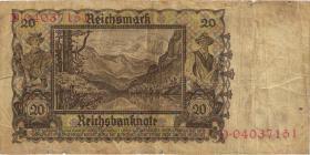 R.178c: 20 Reichsmark 1939 mit belgischem Lagerstempel (3)