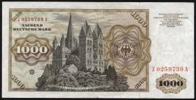 R.268b 1000 DM 1960 Z Ersatznote (3+)