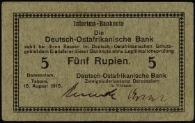 R.910c: Deutsch-Ostafrika 5 Rupien 1915 C (1)
