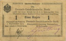 """R.916h: Deutsch-Ostafrika 1 Rupie 1915 Q (2) """"Herrnhut"""""""