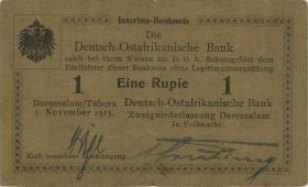 """R.917c: Deutsch-Ostafrika 1 Rupie 1915 D (3) """"runder Bankstempel"""""""