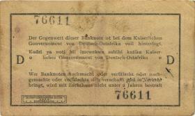 """R.917d: Deutsch-Ostafrika 1 Rupie 1915 D (3) """"Seidenschwarz & runder Bankstempel"""""""