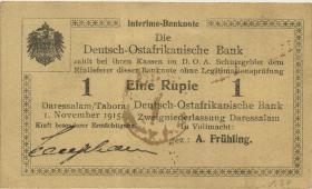 """R.918a: Deutsch-Ostafrika 1 Rupie 1915 E (1/1-) """"runder Bankstempel"""""""