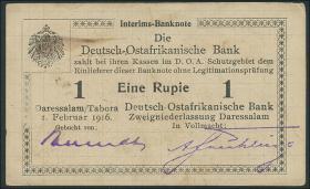 R.929q: Deutsch-Ostafrika 1 Rupie 1916 Q3 (1-)