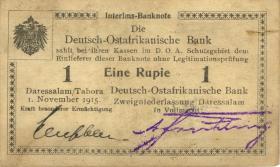 R.931b: Deutsch-Ostafrika 1 Rupie 1915 mit Überdruck X (1-)