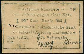 """R.936B1: Deutsch-Ostafrika 1 Rupie 1917 """"Briefkopfnote"""" Typ1 (1)"""