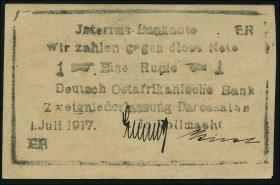 """R.936B1: Deutsch-Ostafrika 1 Rupie 1917 """"Briefkopfnote"""" Typ1 (1/1-)"""