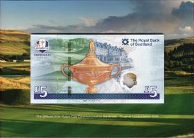 Schottland / Scotland Royal Bank P.neu 5 Pounds 2014 Ryder Cup