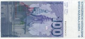Schweiz / Switzerland P.57h 100 Franken 1986 (2+)
