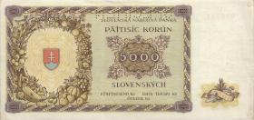 Slowakei / Slovakia P.14s 5000 Korun 1944 Specimen (1-)