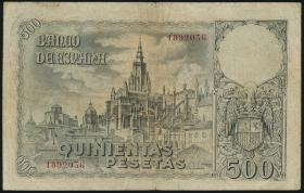 Spanien / Spain P.124 500 Pesetas 1940 (3-)