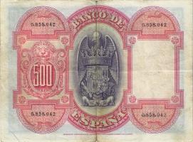 Spanien / Spain P.073 500 Pesetas 1927 (3-)