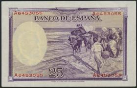 Spanien / Spain P.087b 25 Pesetas 1936 A (3+)