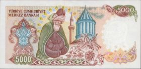 Türkei / Turkey P.197 5000 Lira 1970 (1990) (1)