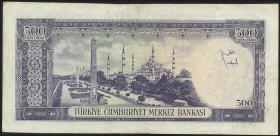 Türkei / Turkey P.183 500 Lira L.1930 (1968) (3)