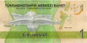 Turkmenistan P.36 1 Manat 2017 Gedenkbanknote (1)