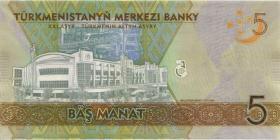 Turkmenistan P.37 5 Manat 2017 Gedenkbanknote (1)