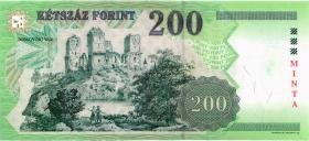 Ungarn / Hungary P.178s 200 Forint 1998 Specimen (1)