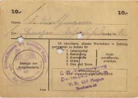 WHW-42 Winterhilfswerk 10 Reichsmark 1943/44 (1) entwertet