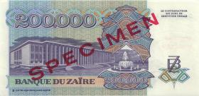 Zaire P.42s 200.000 Zaires 1992 Specimen (1)