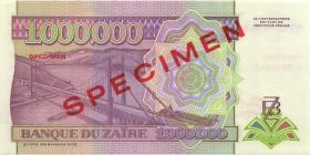 Zaire P.45as 1.000.000 Zaires 15.3.1993 Specimen (1)