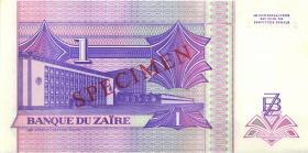 Zaire P.52s 1 Nouveau Zaire 1993 Specimen (1/1-)
