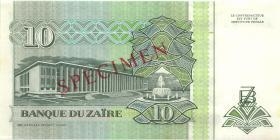 Zaire P.54 10 Nouveau Zaires 1993 Specimen (1)