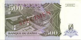 Zaire P.64s 500 Nouveau Zaires 1994 Specimen (1)