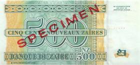 Zaire P.65s 500 Nouveau Zaires 1995 Specimen (1)