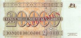 Zaire P.72s 20000 Nouveau Zaires 1996 Specimen (1)