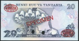 Tansania / Tanzania P.07s 20 Shillings (1978) Specimen (1)
