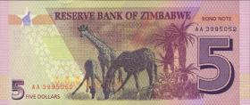 Zimbabwe P.neu 5 Dollars 2016 (1)