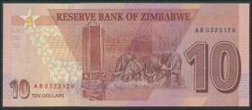 Zimbabwe P.103 10 Dollars 2020 (1)