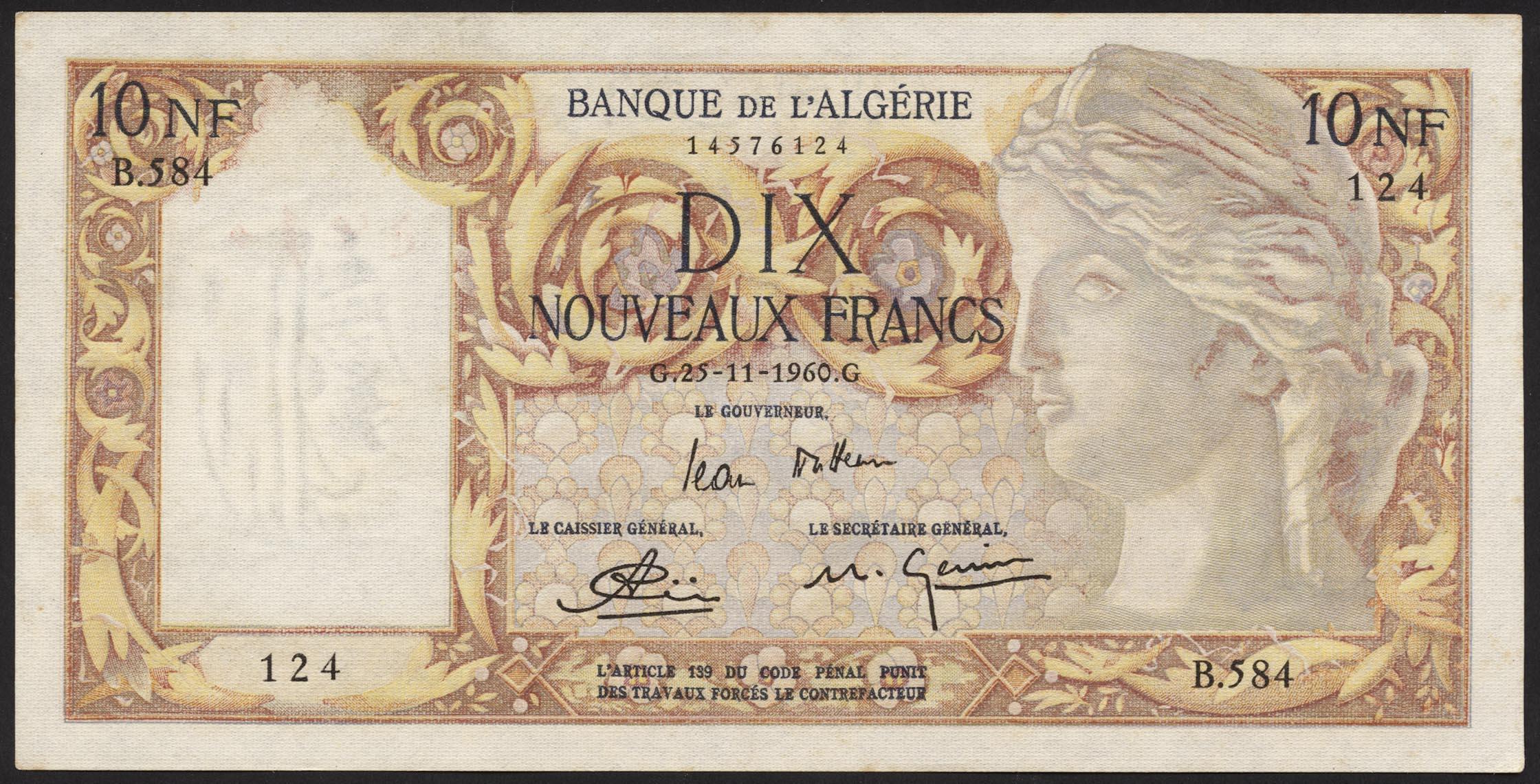 Algerien Algeria P 119a 10 Neue Francs 1960 1