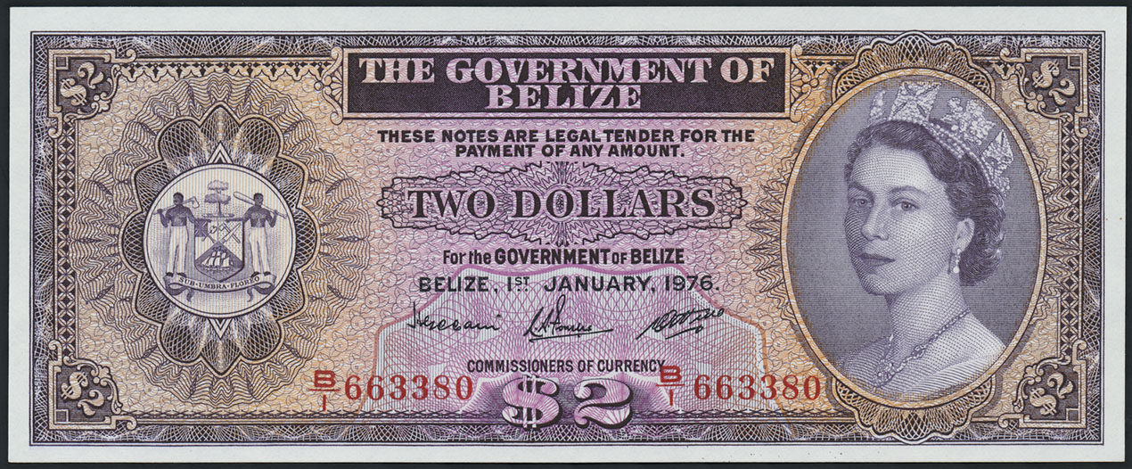 Belize P 34c 2 Dollars 1976 1