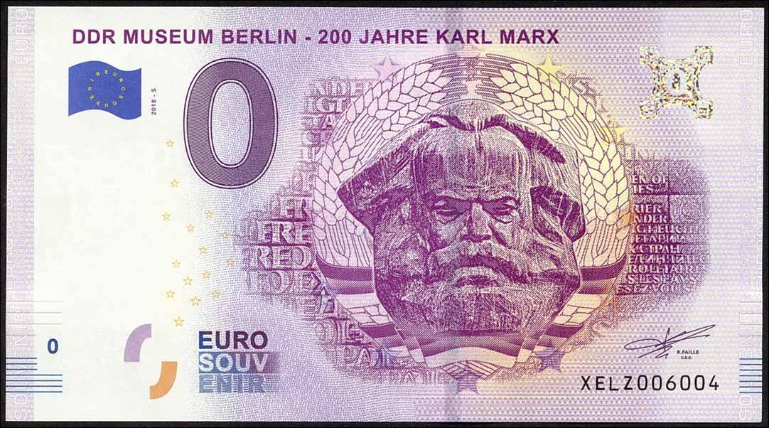 0 Euro Souvenir Schein Ddr Museum Berlin 200 Jahre Karl Marx 1