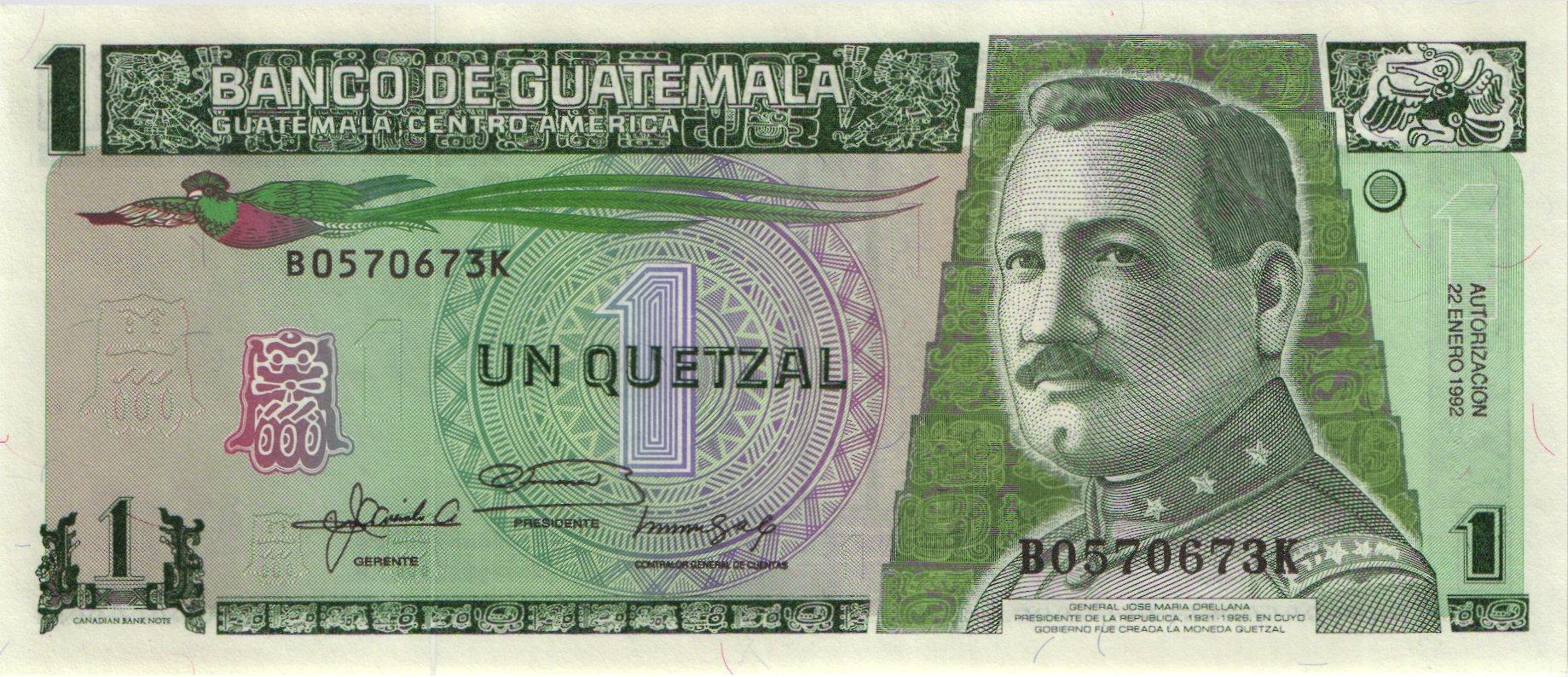 Guatemala 1 Quetzal Note P-73c   UNCIRCULATED