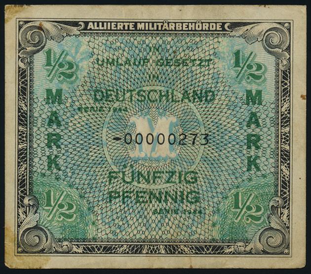 R200b 1 2 Mark 1944 US Druck Ersatznote 4