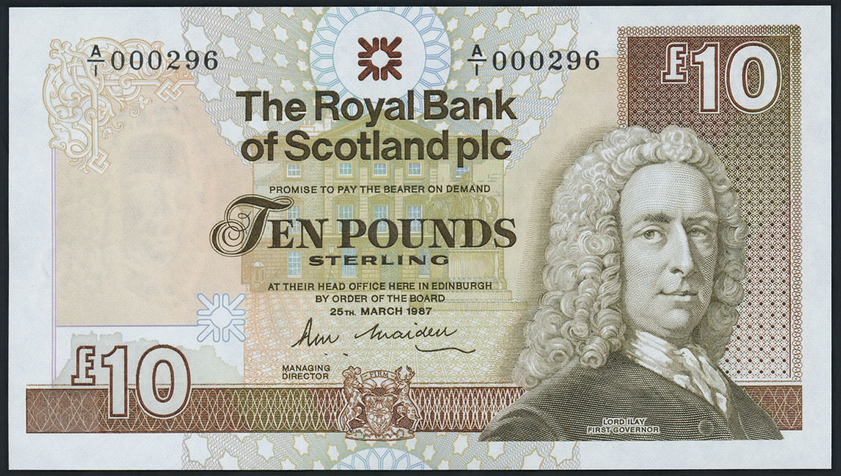 schottland scotland royal bank 10 pounds 1987 1 low number. Black Bedroom Furniture Sets. Home Design Ideas