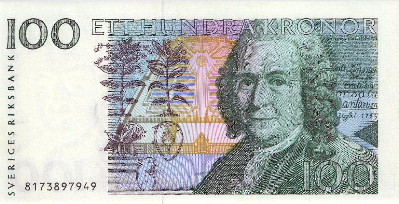 Schweden Sweden P 57b 100 Kronen 1998 Linne 1