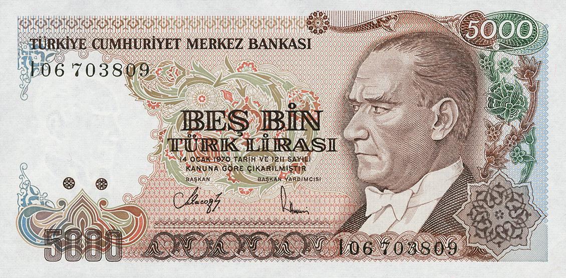 Türkei Turkey P198 5000 Lira 1970 1990 1